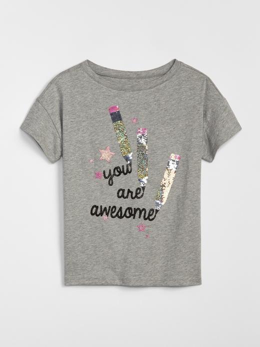 Kız Çocuk açık gri Kız Çocuk Pullu Grafik T-Shirt