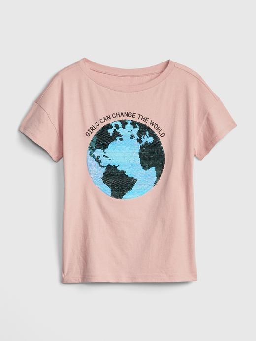 Kız Çocuk kırık beyaz Kız Çocuk Pullu Grafik T-Shirt