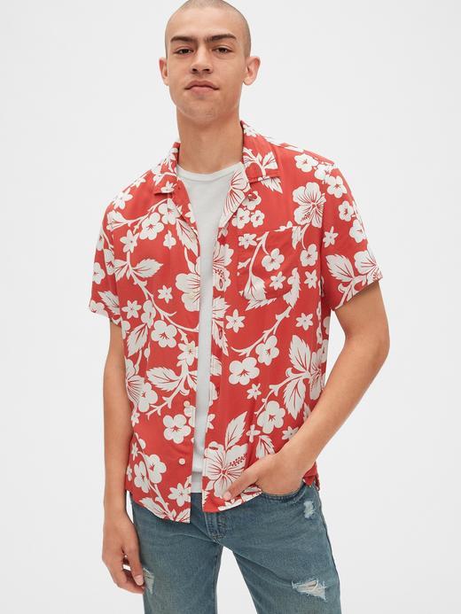 Erkek kırmızı desenli Desenli Kısa Kollu Gömlek