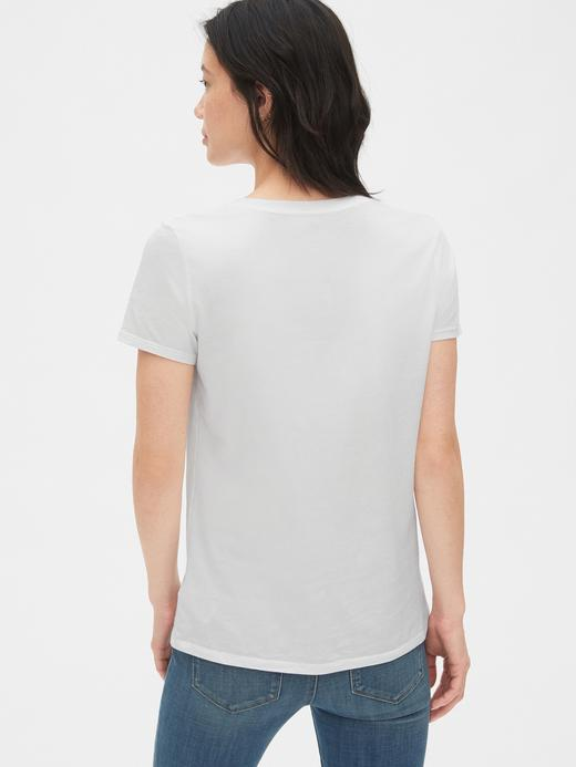 Kadın beyaz Kadın Kısa Kollu V Yakalı Vintage T-Shirt
