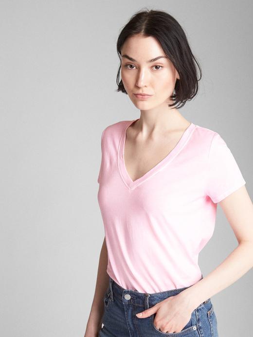 Kadın pembe Kadın Kısa Kollu V Yakalı Vintage T-Shirt