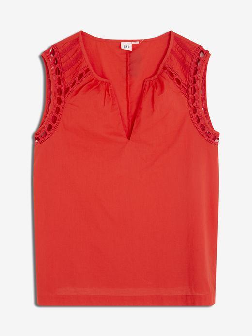 Kadın Kırmızı Kadın İşlemeli Kolsuz Bluz