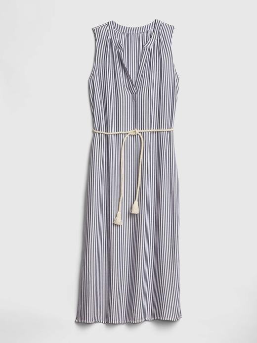Kadın lacivert çizgili Kadın Çizgili Midi Elbise