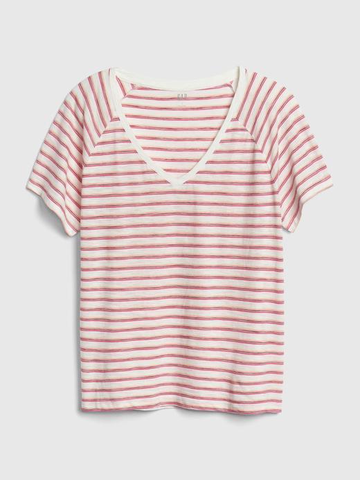 Kadın çok renkli çizgili Kadın V Yaka T-Shirt