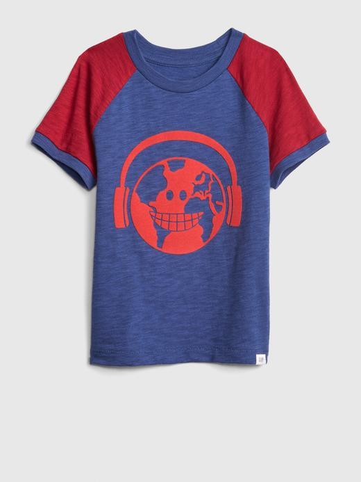 Bebek lacivert Erkek Bebek Grafik Kısa Kollu T-Shirt