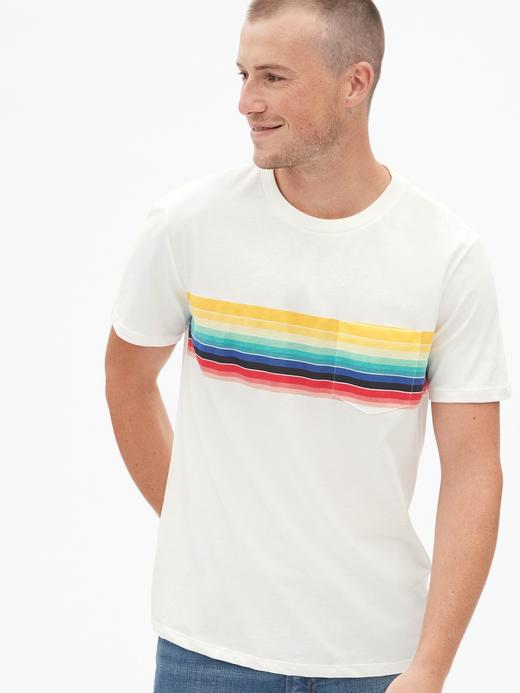 Çizgili Cepli T-Shirt