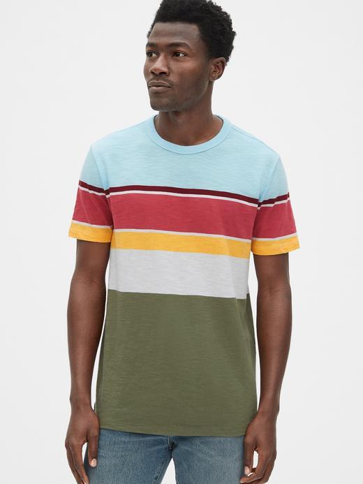 Vintage Çizgili Sıfır Yaka T-Shirt