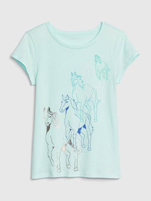Kız Çocuk turkuaz Kız Çocuk Grafik Kısa Kollu T-Shirt