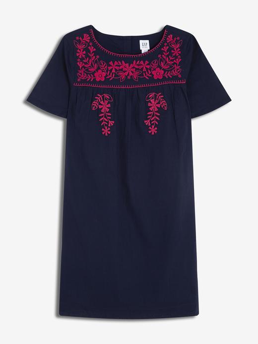 İşlemeli Kısa Kollu Elbise