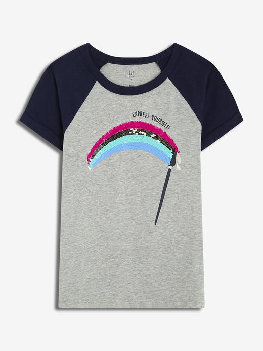 Kız Çocuk çok renkli Kız Çocuk Pullu Grafik T-Shirt
