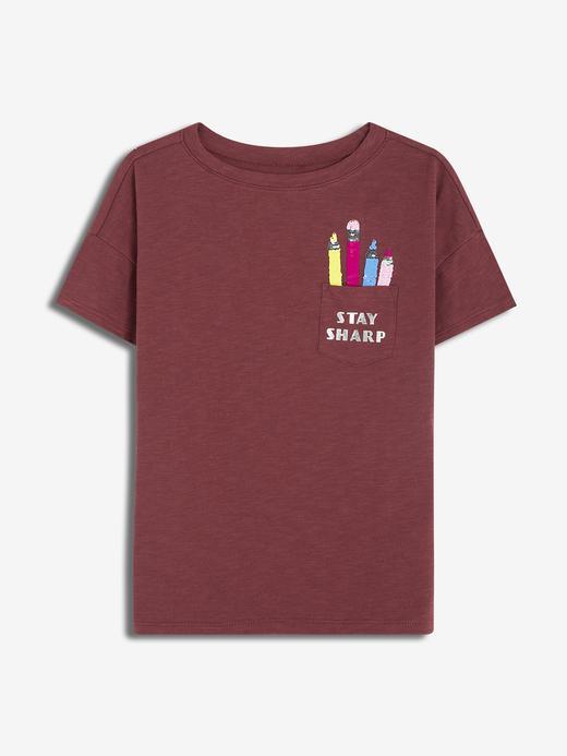 Kız Çocuk kırmızı Kız Çocuk Pullu Grafik T-Shirt