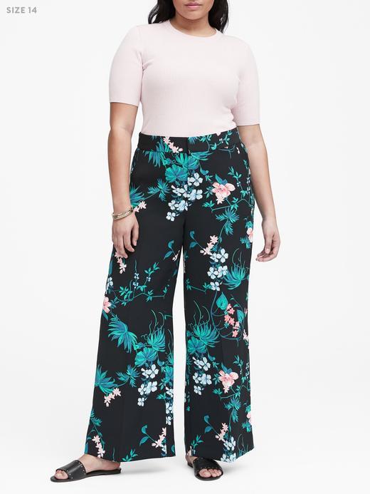 Kadın siyah desenli Yüksek Belli Wide Leg Pantolon