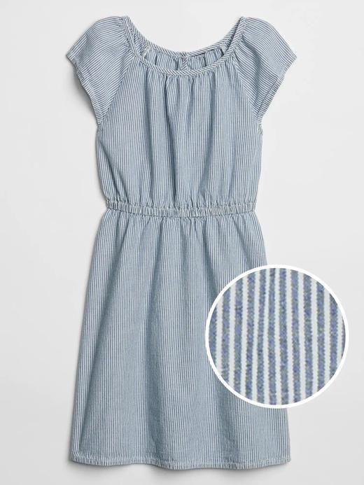 Kız Çocuk Mavi Çizgili Kısa Kollu Elbise