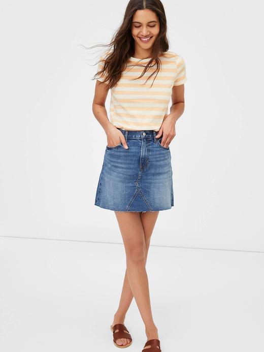 Kadın turuncu Çizgili T-Shirt