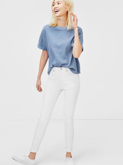 Kadın beyaz Orta Belli Super Skinny Jean Pantolon