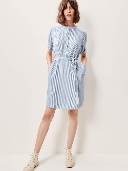 Çizgili Kısa Kollu Elbise