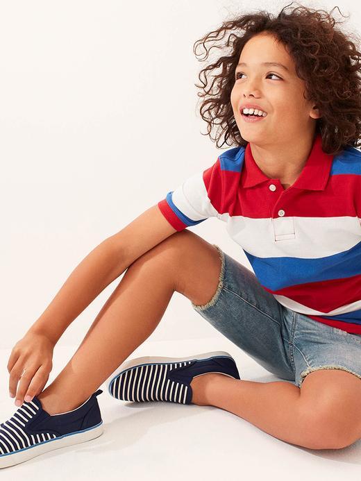 Erkek Çocuk lacivert kırmızı çizgili Erkek Çocuk Desenli Polo T-Shirt