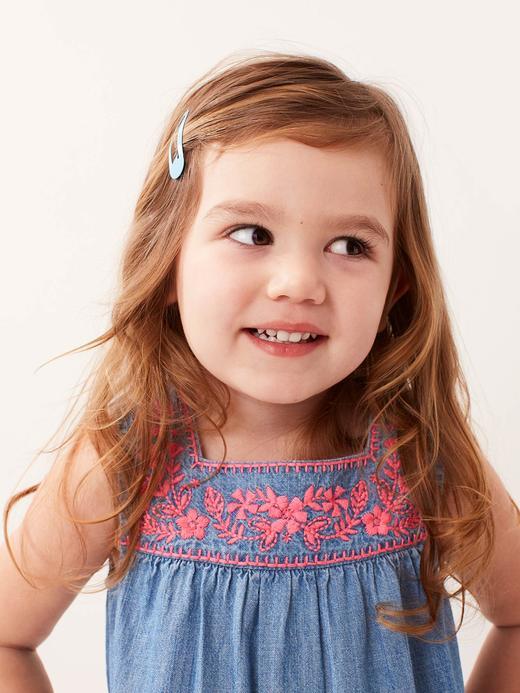 Bebek mavi Kız Bebek İşlemeli Denim Elbise