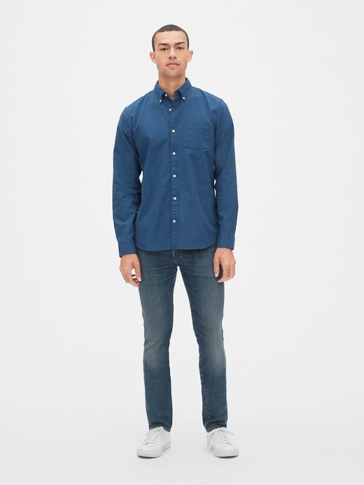 Erkek mavi Erkek Streç Oxford Gömlek