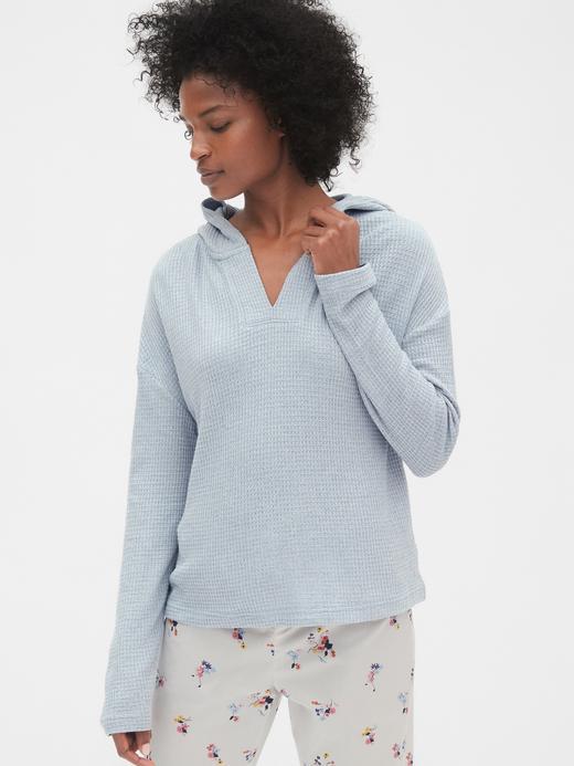 Kadın kırçıllı mavi Kadın Örme Kapüşonlu Sweatshirt