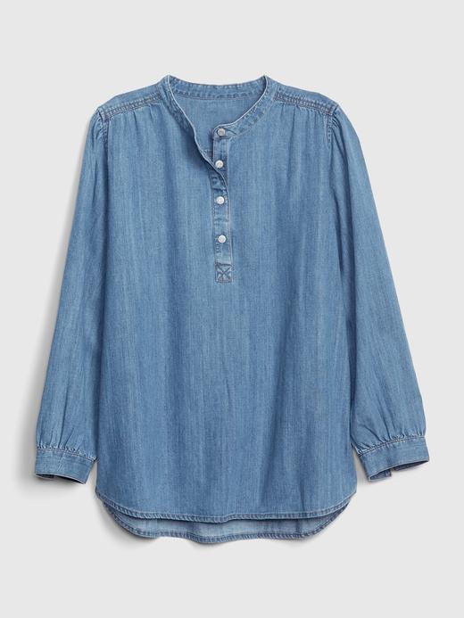 Uzun Kollu Denim Gömlek
