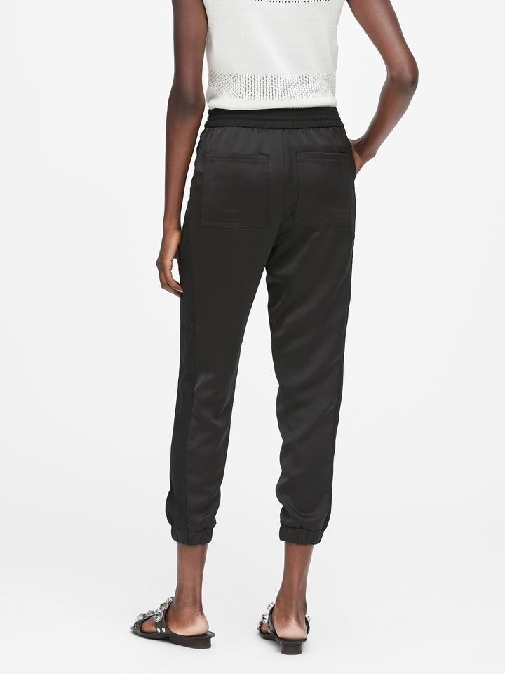 Kadın siyah Yanları Çizgili Jogger Pantolon