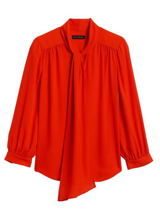 Kadın kırmızı Bağlama Detaylı Uzun Kollu Bluz