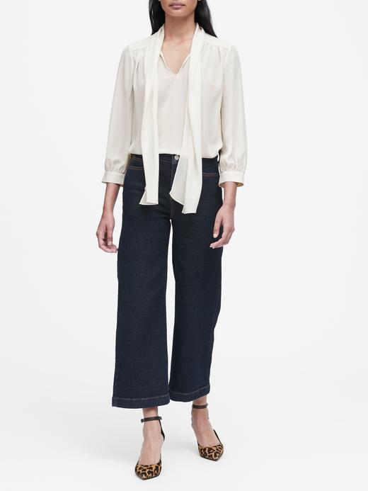 Kadın Siyah Bağlama Detaylı Uzun Kollu Bluz