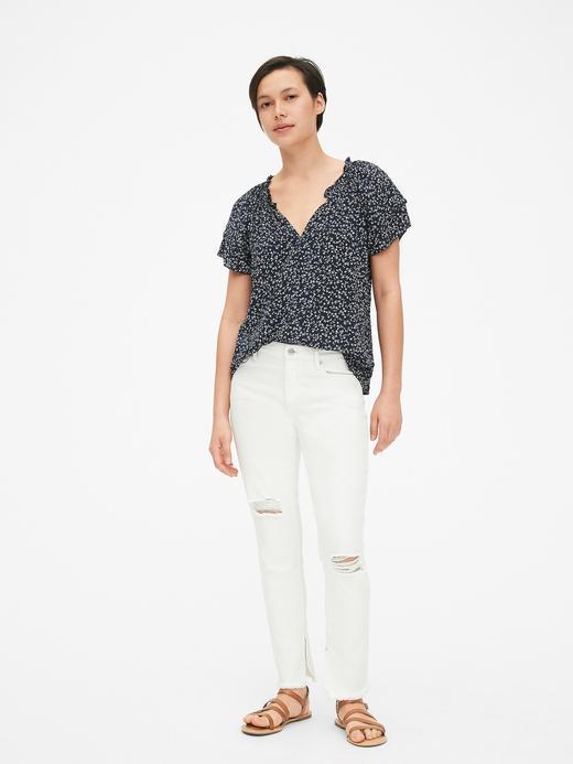 Kadın beyaz Çiçek Desenli Kısa Kollu Bluz