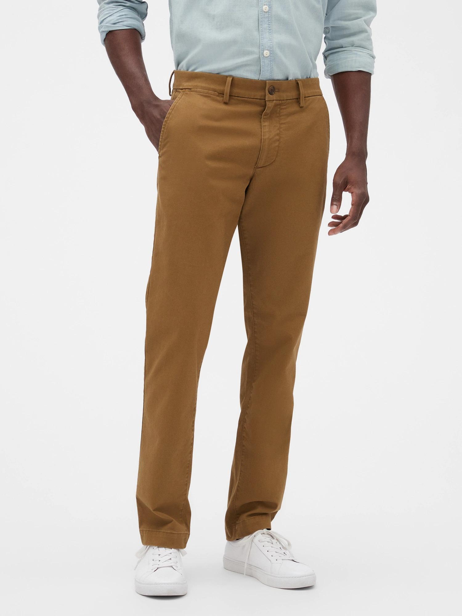GAP Kahverengi Slim Fit Gap Flex Khaki Pantolon