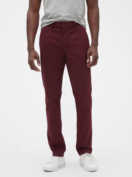 Erkek bordo Slim Fit Gap Flex Khaki Pantolon