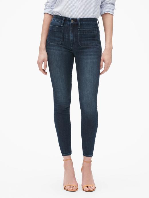 Kadın lacivert Yüksek Belli Legging Jean Pantolon