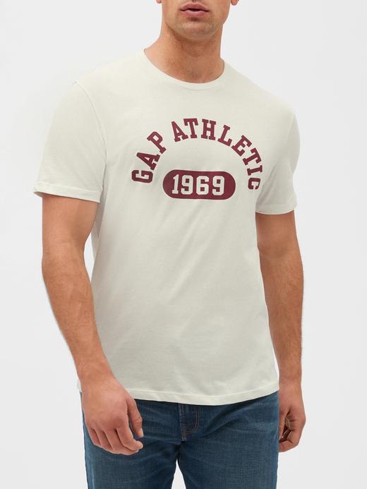 Erkek kirli beyaz Gap Logo Kısa Kollu T-shirt
