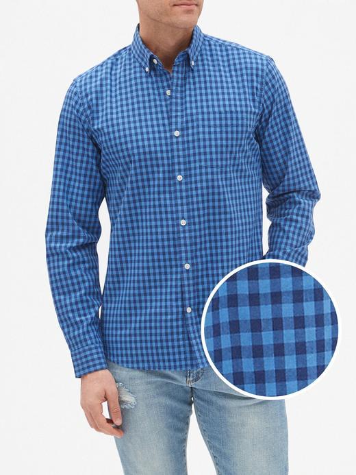 Erkek mavi ekose Uzun Kollu Slim fit Poplin Gömlek