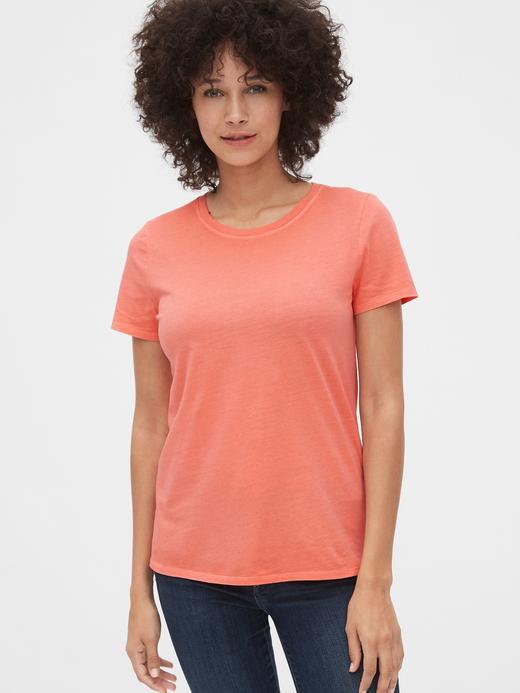 Kadın turuncu Kadın Vintage Kısa Kollu T-Shirt