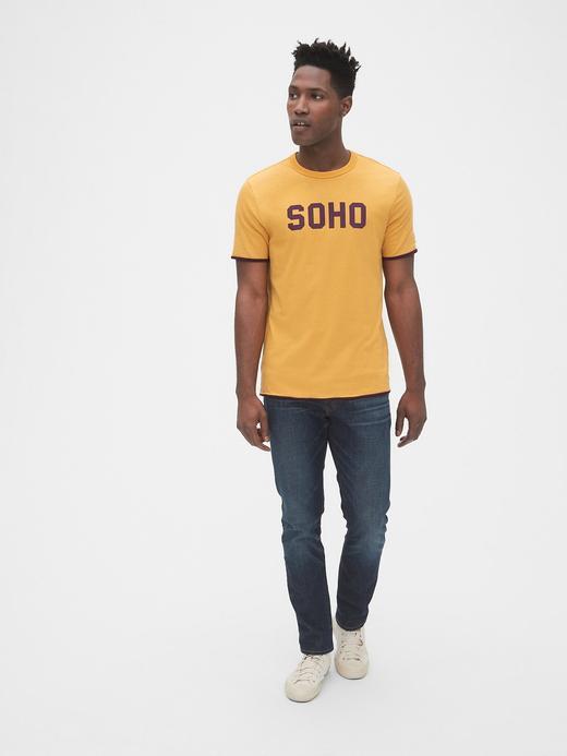 Erkek koyu sarı Çİft Taraflı Yuvarlak Yaka T-shirt