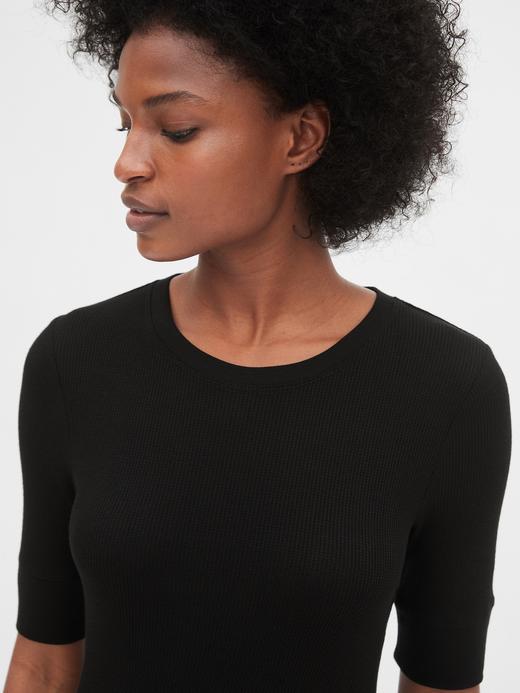 Kadın kırçıllı gri Yuvarlak Yaka T-shirt