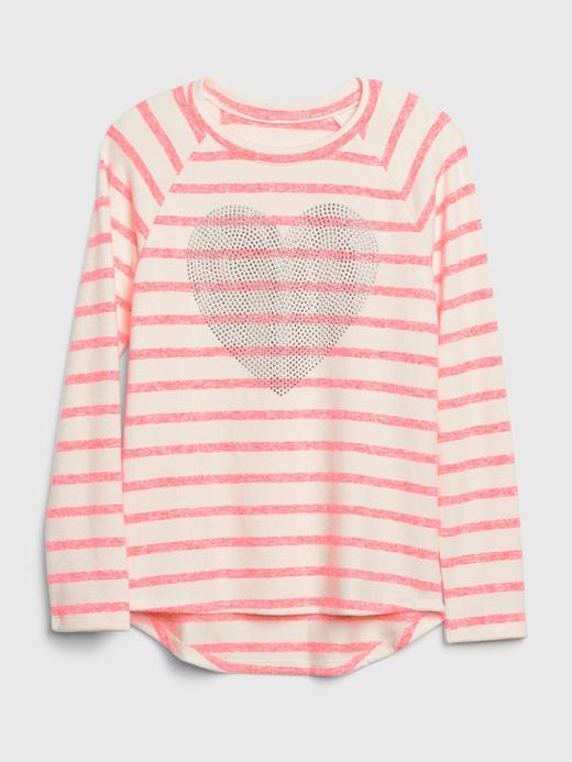 Kız Çocuk pembe çizgili Uzun Kollu T-shirt
