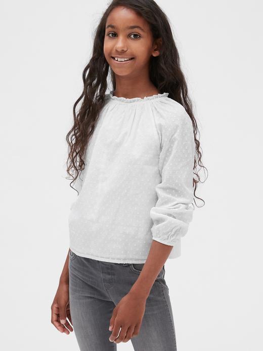 Kız Çocuk beyaz Raglan Fırfırlı Yaka  Bluz