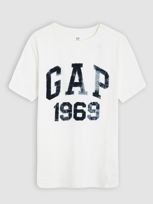 Erkek Çocuk kırık beyaz Gap Logo Kısa Kollu T-shirt