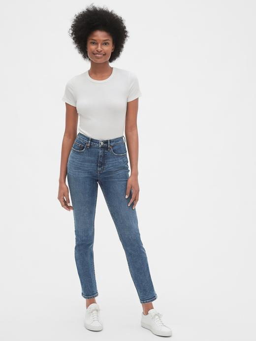Kadın orta indigo yıkamalı Yüksek Belli Cigarette Straight Denim Pantolon