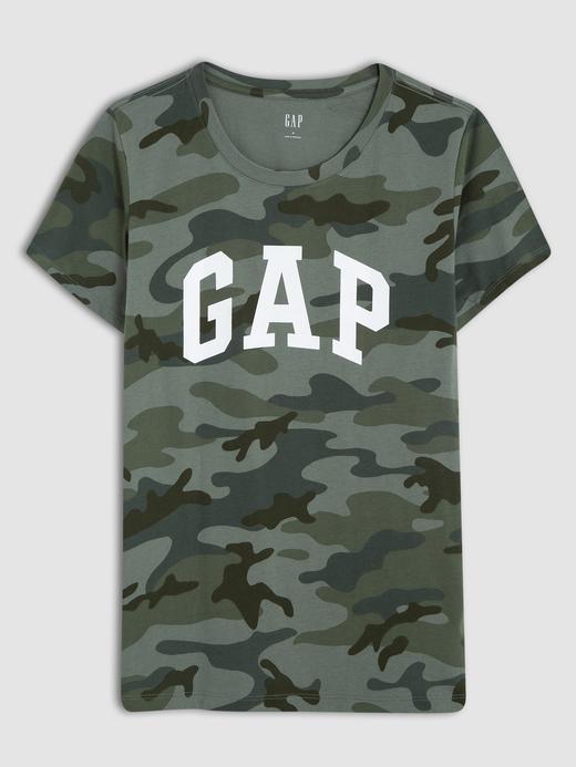 Kadın kamuflaj Kadın Gap Logo Kısa Kollu T-Shirt