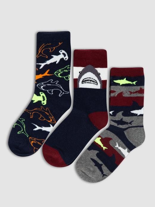 Erkek Çocuk çok renkli 3'lü Desenli Çorap Seti