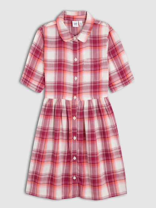 Kız Çocuk pembe ekose Kısa Kollu Gömlek Elbise