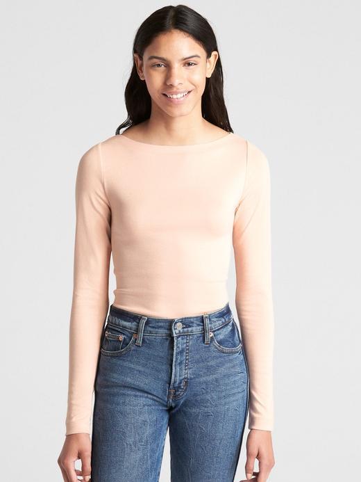 Kadın Pembe Uzun Kollu Kayık Yaka T-Shirt