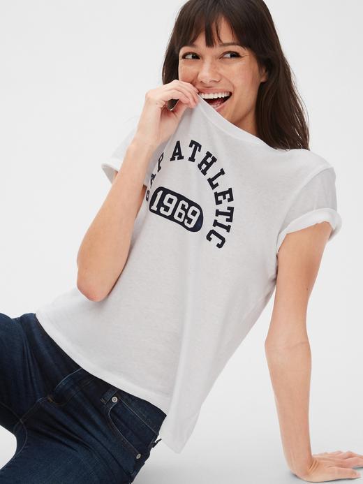 Kadın bordo Gap Atletik Logo T-Shirt