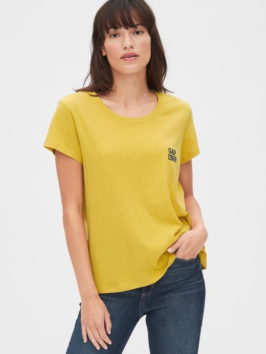Kadın Sarı Gap Logo T-Shirt