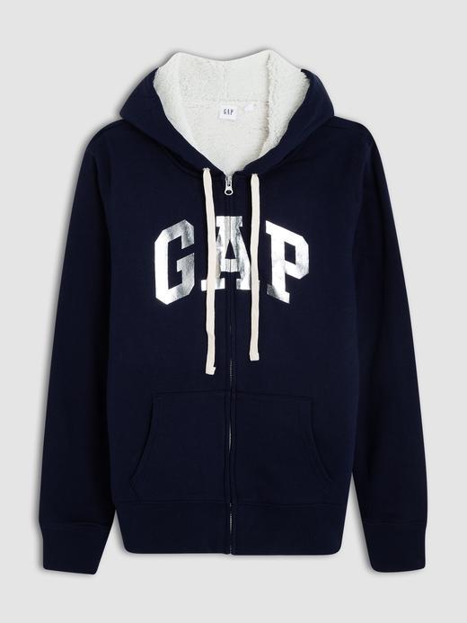 Kadın lacivert Gap Logo Sherpa astarlı kapüşonlu sweatshirt