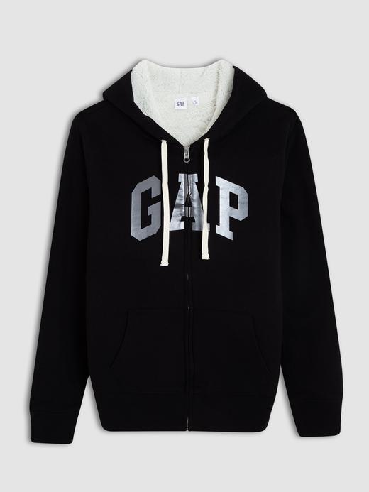 Kadın siyah Gap Logo Sherpa astarlı kapüşonlu sweatshirt