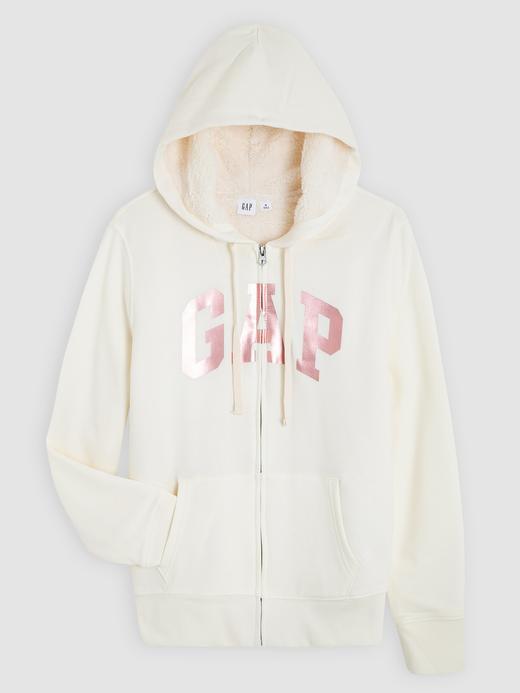 Kadın beyaz Gap Logo Sherpa astarlı kapüşonlu sweatshirt